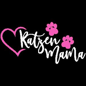 Katzenmama Katzen Mama Katze Haustier Herz pink