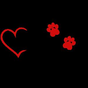 Katzenmama Katzen Mama Katze Haustier Herz rot
