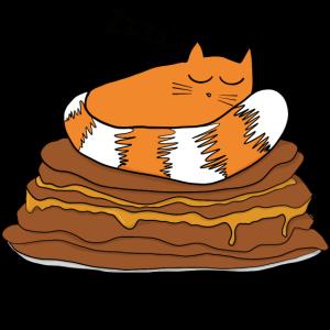 Katze schlafen Pfannkuchen