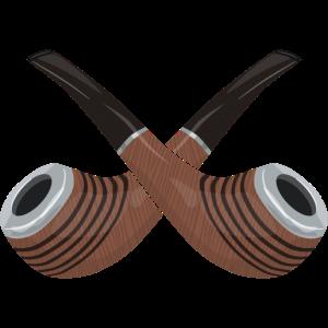 Zwei gekreuzte Tabak Pfeifen