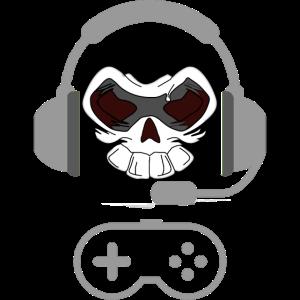 Skull mit Headset, Gaming, Zocker, Daddeln