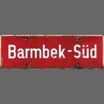 HAMBURG Barmbek-Sued Ortsschild rot antik