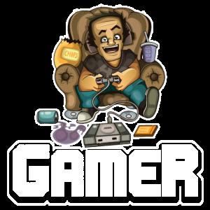 Gamer auf einem Sofa