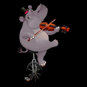 Nilpferd mit Einrad