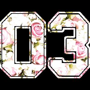 Ziffer Zahl Nummer Rosenmuster 03
