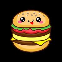 Burger mit lächelndem Gesicht