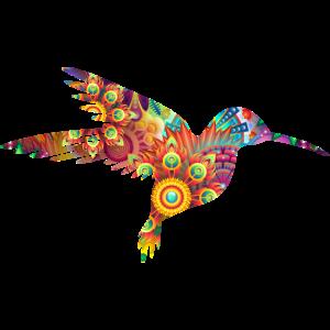 Bunter Vogel Blume Silhouette Tier