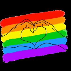 LGBTQ+ HERZ HÄNDE PRIDE