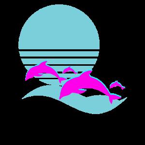 Aesthetic Vaporwave Dolphin Retro 1980s Sunset