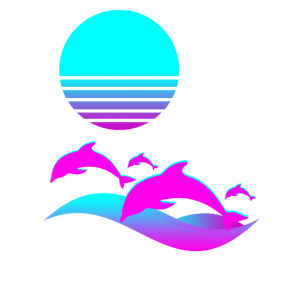 Aesthetic Vaporwave Dolphin Retro 1980s Sun Set