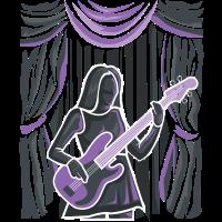 Bassistin auf Bühne