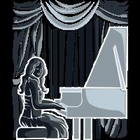 Pianistin auf einer Bühne