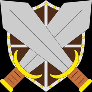 Gekreuzte Schwerter vor Schild