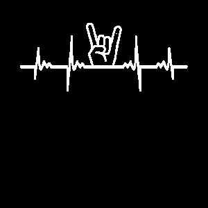 Rock Fingers Horns Herzlinie EKG Metal Geschenk