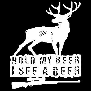 Jäger - halten Sie mein Bier, das ich ein Rotwild-Hemd sehe