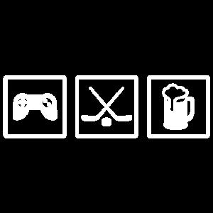 Eishockey Bier und Videospiele Shirt