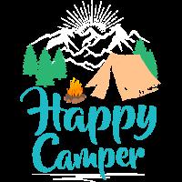 Happy Camper, Berge, Zelt, Campingplatz