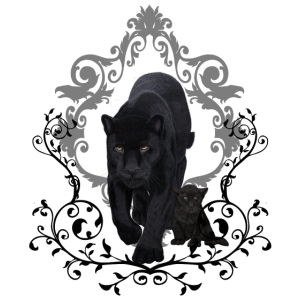 Atemberaubender schwarzer Jaguar mit Welpen