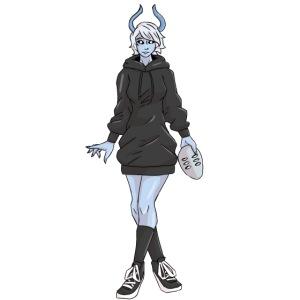 Devil Girl Holding Mask