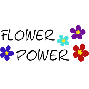 Flower power Spruch SCHWARZ