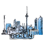 Berlin gezeichnet mit Schriftzug