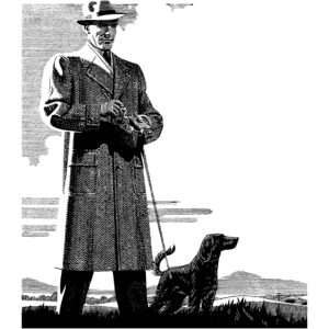 Vintage gentleman and dog