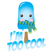 Funny too cool slogan cute vintage ice cream character with hat and scarf for hot sunny summer or freezing cold fall winter snow weather t-shirts for geek kids