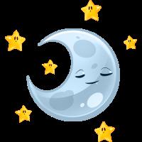 grinsender schlafender Halbmond und kleine Sterne