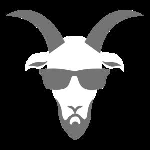 Coole Ziege mit Vollbart und Sonnenbrille