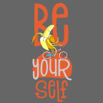 fröhliche be yourself Hipster Banane auf Fahrrad