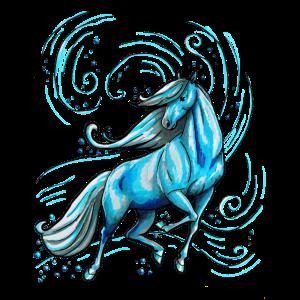 Pferd Schön Elegant Wasser Geschenk Blau lustig