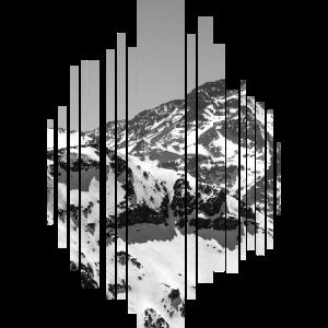 Berggipfel in schwarz weiß