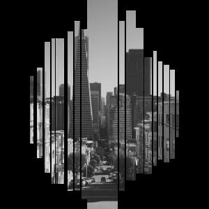 Stadt in schwarz weiß