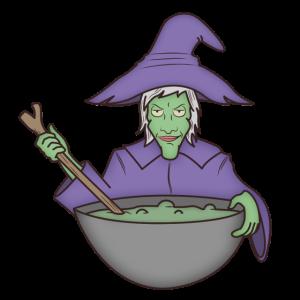 Hexe mit Kochlöffel und Kochtopf