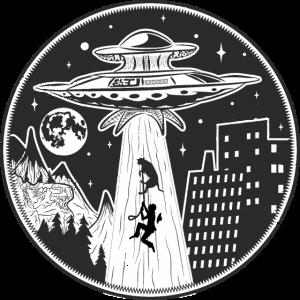 Alien UFO entführen einen Hund und Besitzer Logo