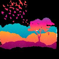 Regenbogen Landschaft mit Baum Vögel und Bergen