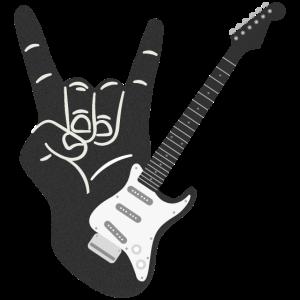 Heavy Metal e-Gitarre mit Teufelshörner Zeichen