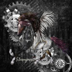 Atemberaubendes Steampunk-Pferd mit Flügeln