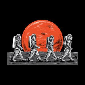 Astronauten im Gehen im Raum besetzen Mars-T-Shirt