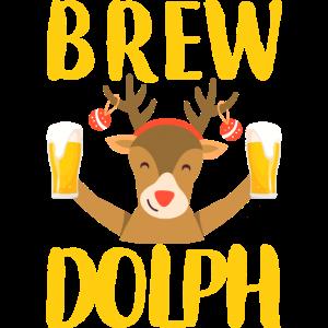 Weihnachten Rentier Rudolph trinkt Bier