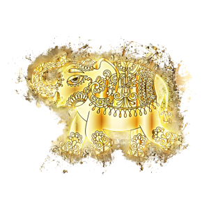 Goldener Elefant Dickhäuter hell glühend