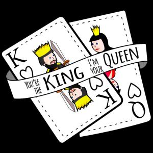 Du König ich Königin Partnershirt King Queen Karte