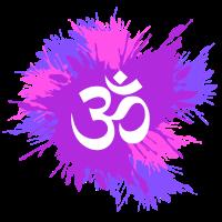 Farbkleckse mit Om Symbol