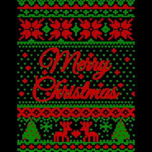 """Merry Christmas"" Strickmuster (rot-grün)"