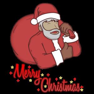 Weihnachtsmann mit Sack wünscht Frohe Weihnachten