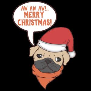 Weihnachten Hund mit Zipfelmütze