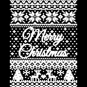 """Merry Christmas"" Strickmuster (weiß)"
