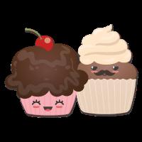 romantisches Cupcake Päärchen Kirsche Schnurrbart