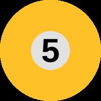 Orangen farbene Billardkugel mit der Zahl 5