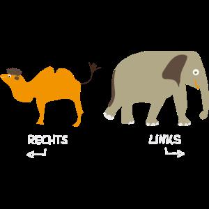 Rechts Links Lernen mit Kamel Elefant T-Shirt